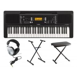 YAMAHA PSR-E363 keyboard do nauki zestaw ze statywem słuchawkami i ławą