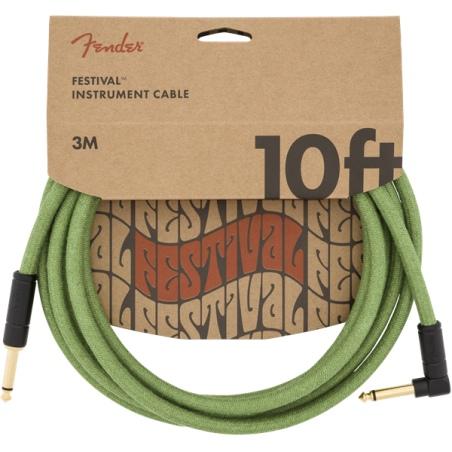 FENDER FESTIVAL 10 ANGLE CABLE HEMP GREEN KABEL INSTRUMENTALNY 3M