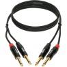 KLOTZ KT-JJ090-Podwójny kabel stereo z wtyczkami jack, pozłacany